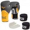 Kit Luva Everlast Training 14 Oz Amarelo + Protetor Bucal + 2 Bandagens