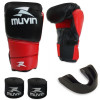 Kit Luva de Boxe Warrior Bx 12 Oz + Protetor Bucal + 2 Bandagens Muvin
